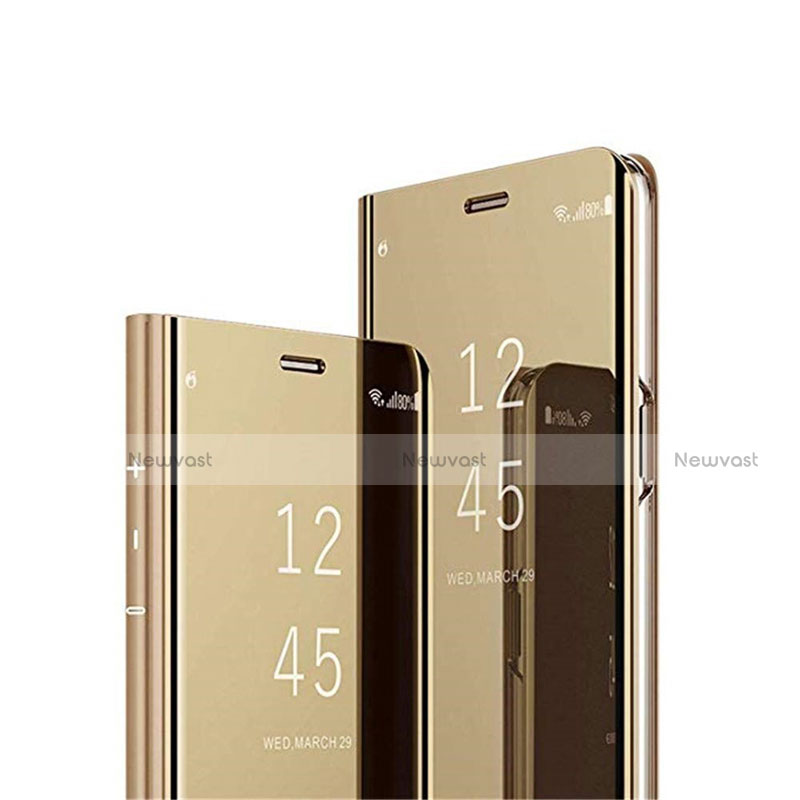 Leather Case Stands Flip Mirror Cover Holder L03 for Huawei Y8p Gold