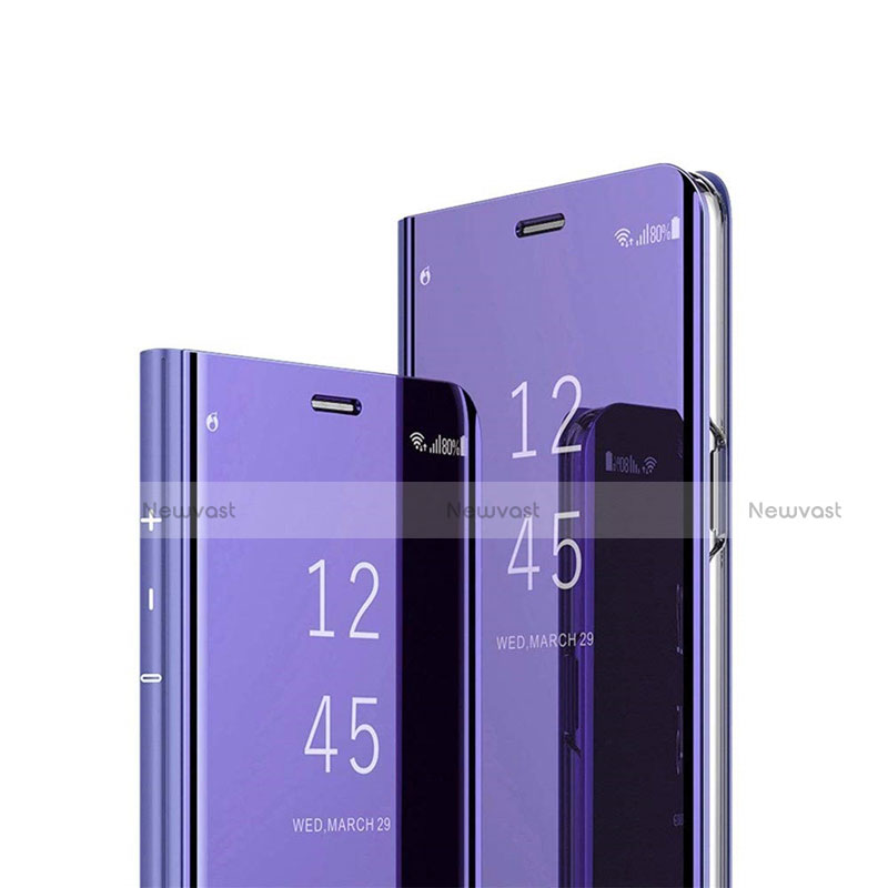 Leather Case Stands Flip Mirror Cover Holder L03 for Huawei Y8p Purple