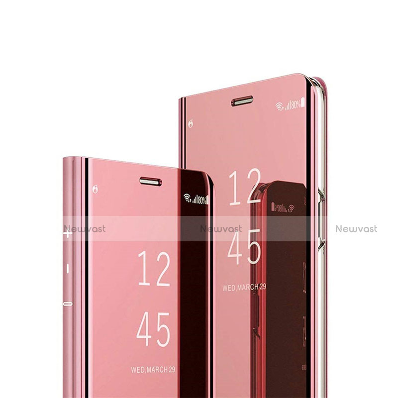 Leather Case Stands Flip Mirror Cover Holder L03 for Huawei Y8p Rose Gold