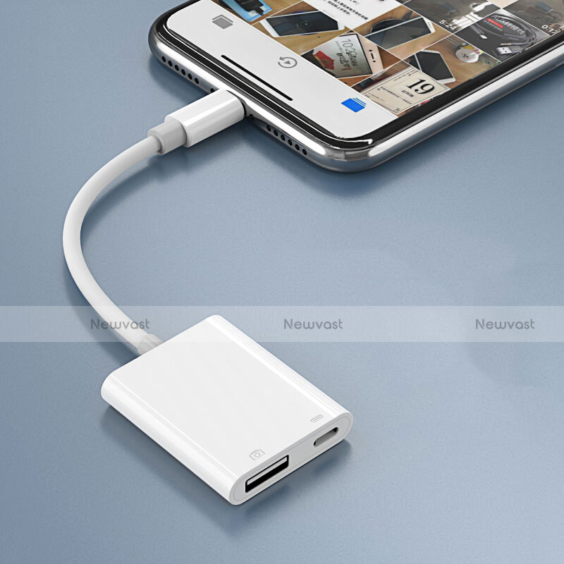 Lightning to USB OTG Cable Adapter H01 for Apple iPhone SE (2020) White