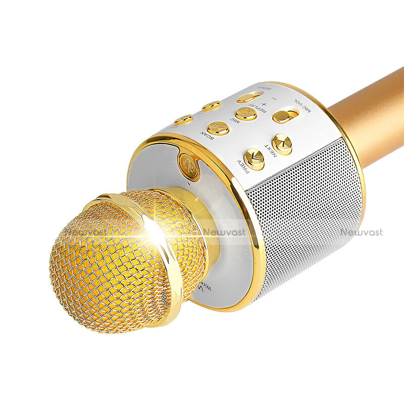Luxury 3.5mm Mini Handheld Microphone Singing Recording M06 Gold