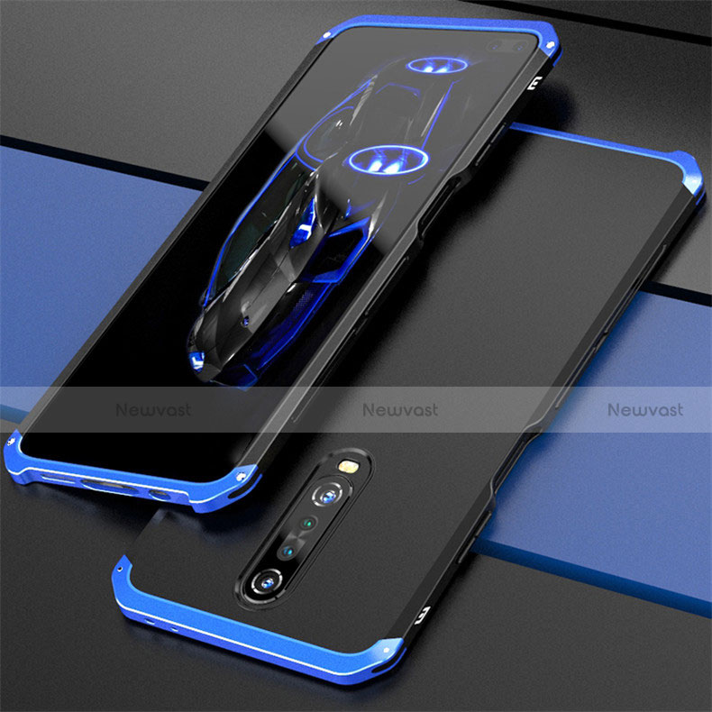 Luxury Aluminum Metal Cover Case for Xiaomi Redmi K30 5G Blue and Black