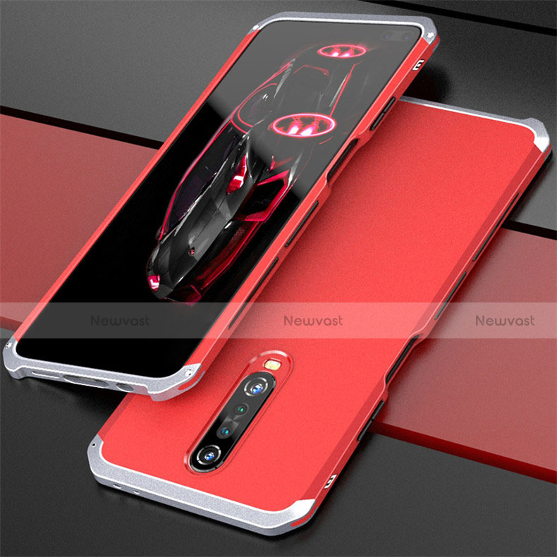 Luxury Aluminum Metal Cover Case for Xiaomi Redmi K30 5G Silver and Red