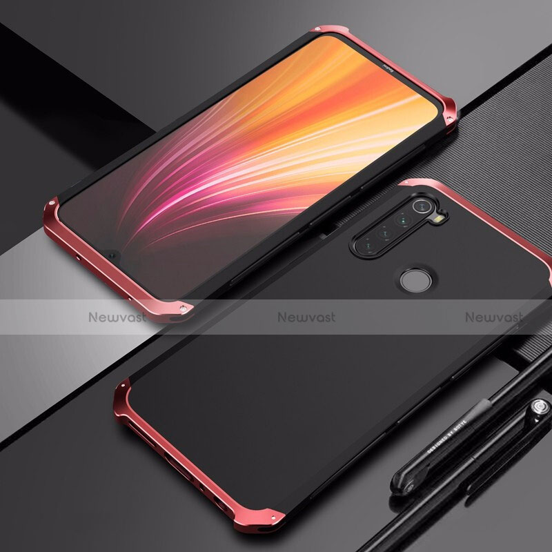 Luxury Aluminum Metal Cover Case for Xiaomi Redmi Note 8 Red and Black