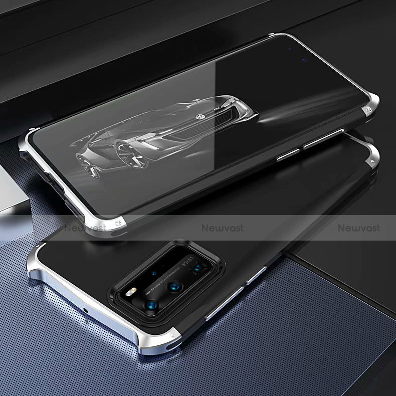 Luxury Aluminum Metal Cover Case T05 for Huawei P40 Pro Silver