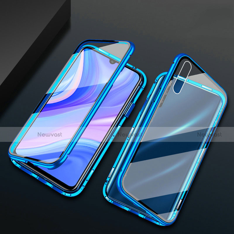 Luxury Aluminum Metal Frame Mirror Cover Case 360 Degrees for Huawei Enjoy 10S Blue