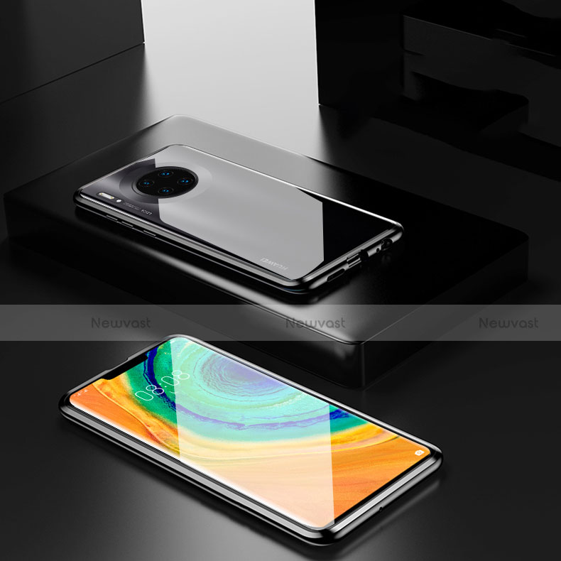 Luxury Aluminum Metal Frame Mirror Cover Case 360 Degrees for Huawei Mate 30 Pro 5G Black