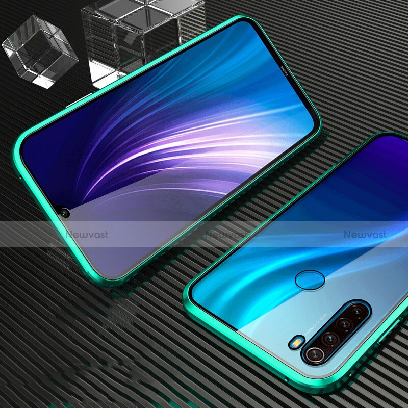 Luxury Aluminum Metal Frame Mirror Cover Case 360 Degrees for Xiaomi Redmi Note 8 Green