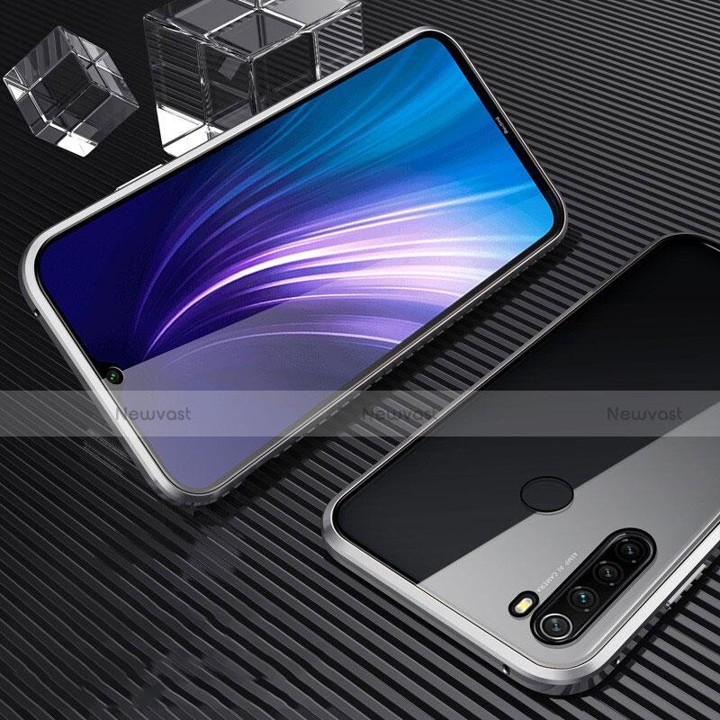 Luxury Aluminum Metal Frame Mirror Cover Case 360 Degrees for Xiaomi Redmi Note 8 Silver