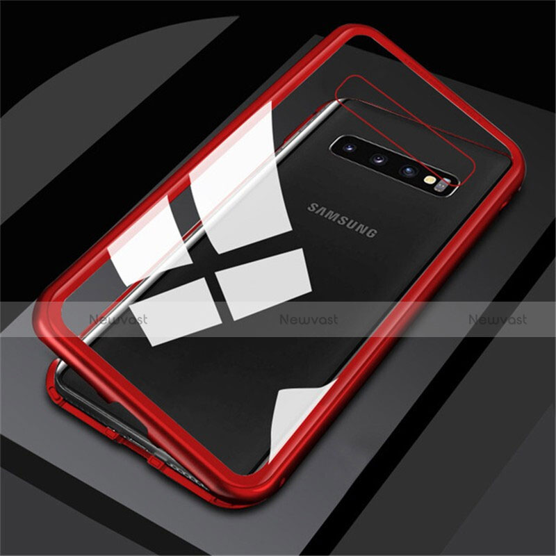Luxury Aluminum Metal Frame Mirror Cover Case 360 Degrees M01 for Samsung Galaxy S10 Red