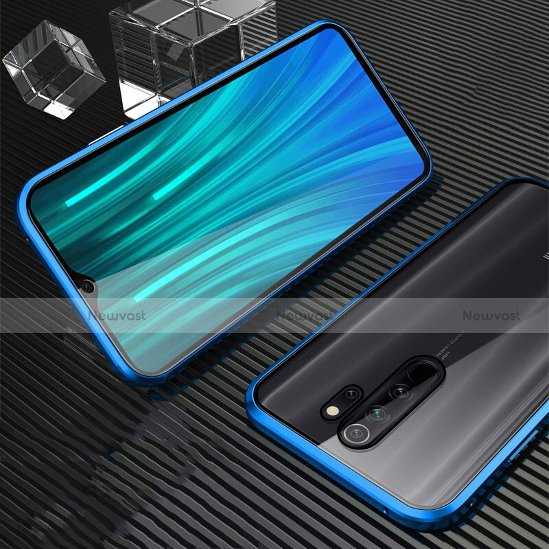 Luxury Aluminum Metal Frame Mirror Cover Case 360 Degrees M01 for Xiaomi Redmi Note 8 Pro Blue