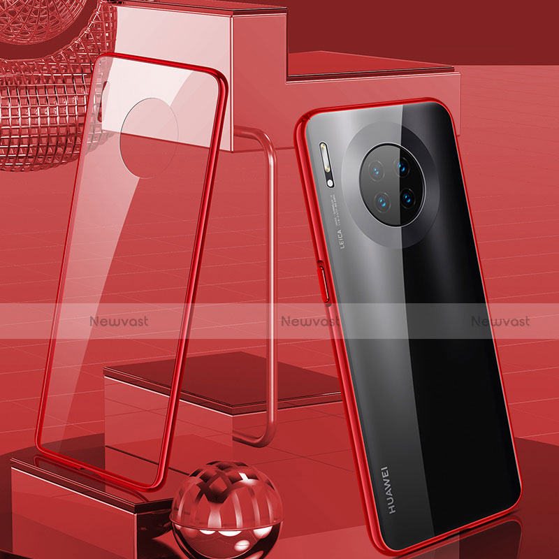 Luxury Aluminum Metal Frame Mirror Cover Case 360 Degrees M03 for Huawei Mate 30 Pro 5G Red