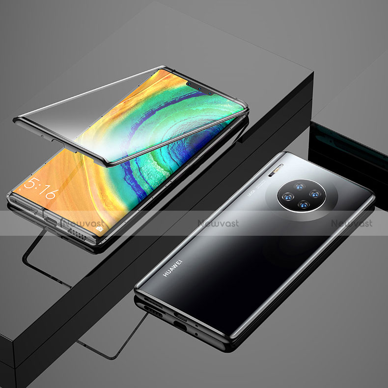 Luxury Aluminum Metal Frame Mirror Cover Case 360 Degrees M04 for Huawei Mate 30 Pro 5G Black