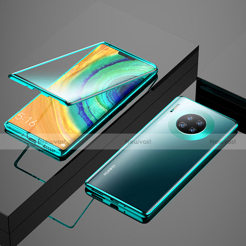 Luxury Aluminum Metal Frame Mirror Cover Case 360 Degrees M04 for Huawei Mate 30 Pro 5G Green