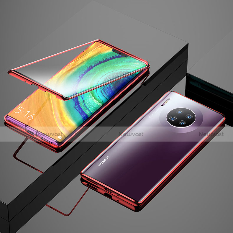 Luxury Aluminum Metal Frame Mirror Cover Case 360 Degrees M04 for Huawei Mate 30 Pro 5G Red