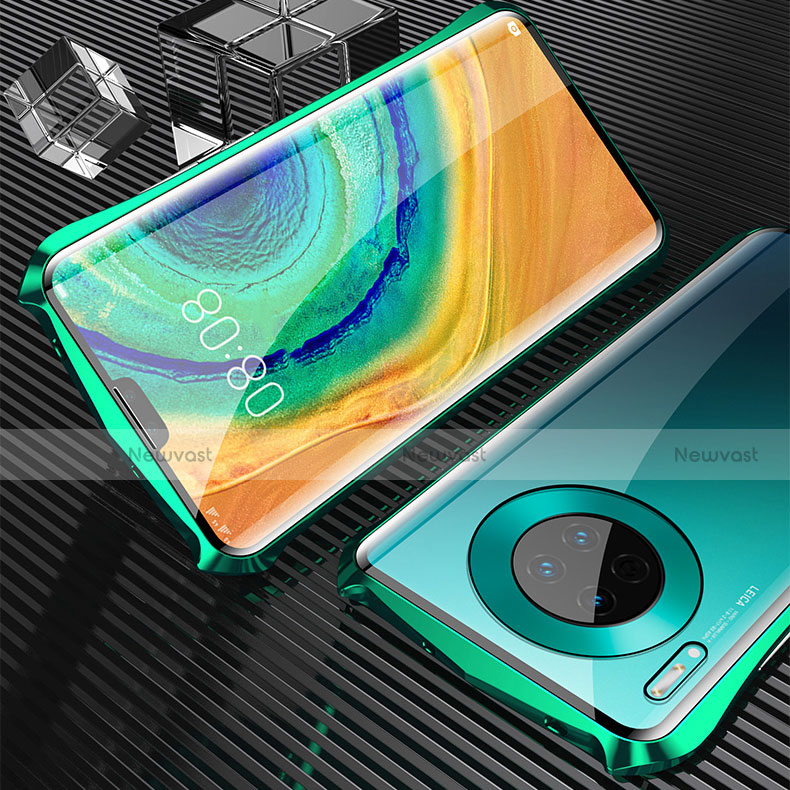 Luxury Aluminum Metal Frame Mirror Cover Case 360 Degrees M05 for Huawei Mate 30 Pro 5G Green