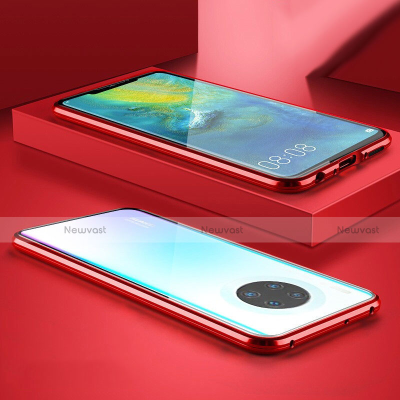 Luxury Aluminum Metal Frame Mirror Cover Case 360 Degrees M07 for Huawei Mate 30 Pro 5G Red