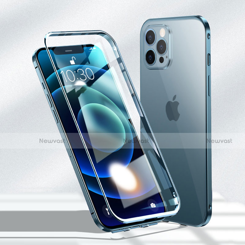Luxury Aluminum Metal Frame Mirror Cover Case 360 Degrees N01 for Apple iPhone 12 Pro Blue