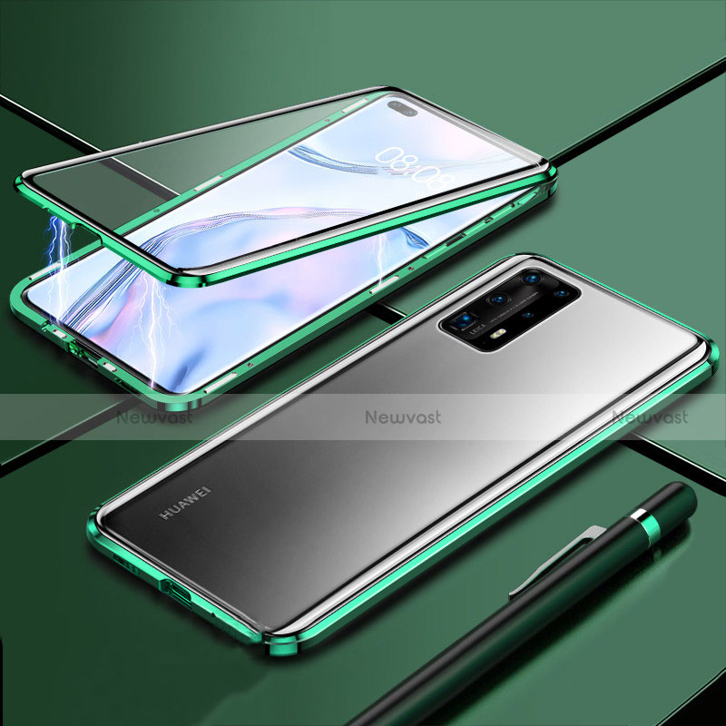 Luxury Aluminum Metal Frame Mirror Cover Case 360 Degrees T04 for Huawei P40 Pro+ Plus