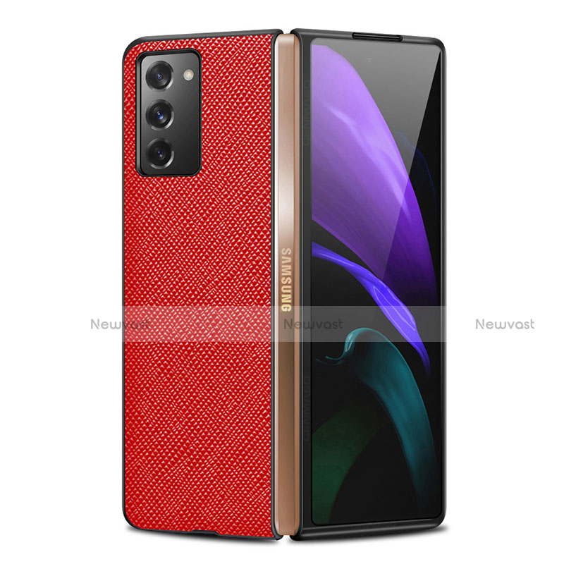 Luxury Leather Snap On Case Cover S01 for Samsung Galaxy Z Fold2 5G Red