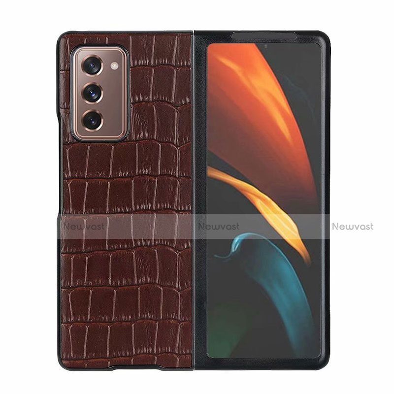 Luxury Leather Snap On Case Cover S02 for Samsung Galaxy Z Fold2 5G Brown