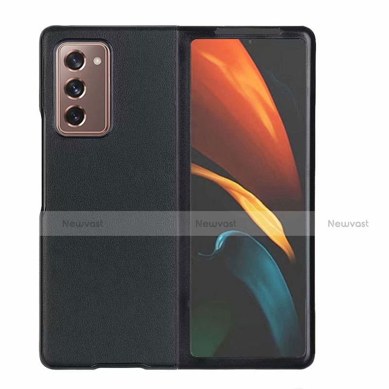Luxury Leather Snap On Case Cover S03 for Samsung Galaxy Z Fold2 5G Black