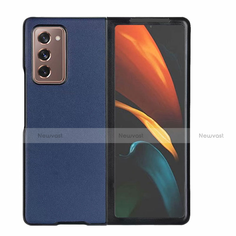 Luxury Leather Snap On Case Cover S03 for Samsung Galaxy Z Fold2 5G Blue