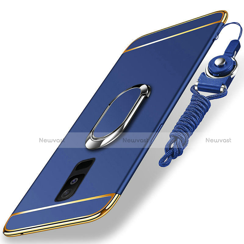 Luxury Metal Frame and Plastic Back Cover with Finger Ring Stand and Lanyard for Samsung Galaxy A6 Plus