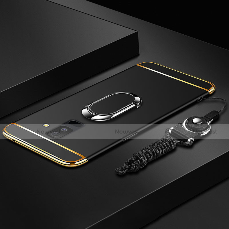 Luxury Metal Frame and Plastic Back Cover with Finger Ring Stand and Lanyard for Samsung Galaxy A6 Plus Black