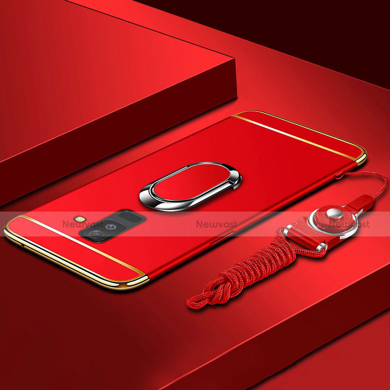 Luxury Metal Frame and Plastic Back Cover with Finger Ring Stand and Lanyard for Samsung Galaxy A9 Star Lite Red