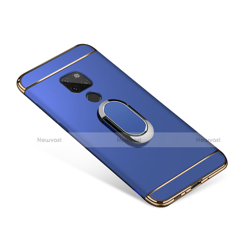 Luxury Metal Frame and Plastic Back Cover with Magnetic Finger Ring Stand for Huawei Mate 20 Blue
