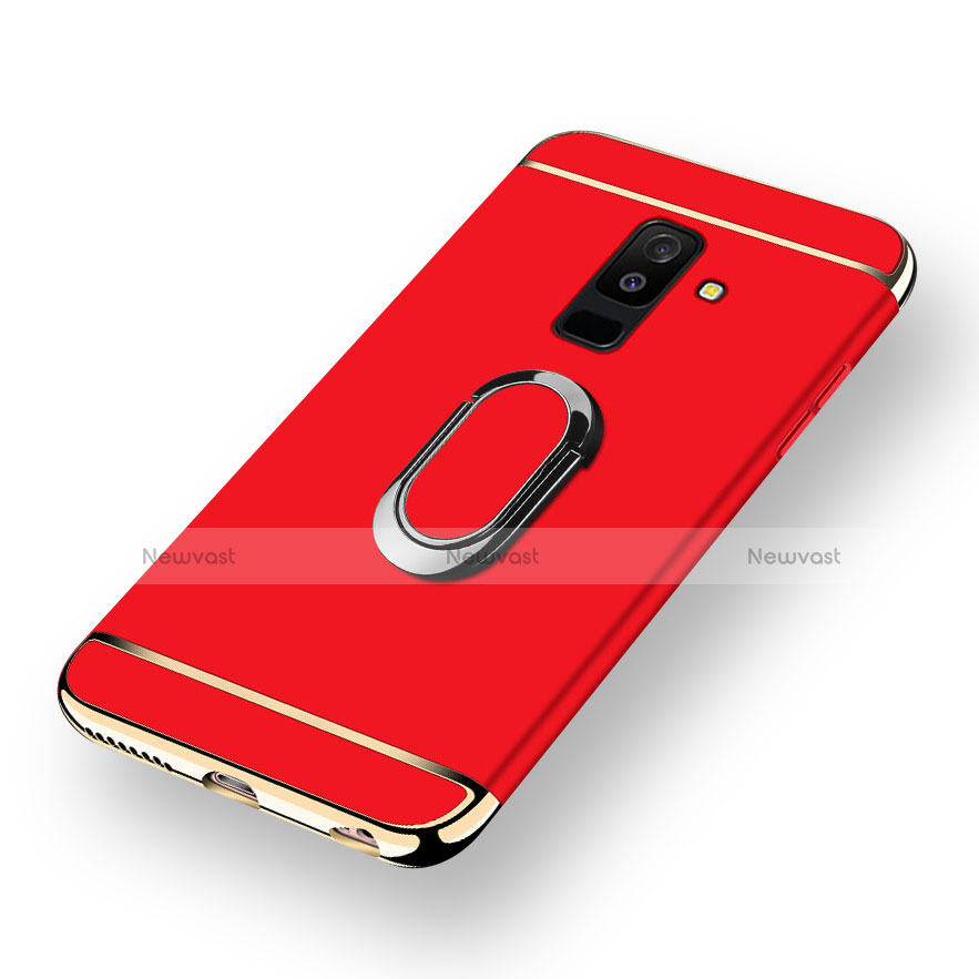 Luxury Metal Frame and Plastic Back Cover with Magnetic Finger Ring Stand for Samsung Galaxy A6 Plus Red