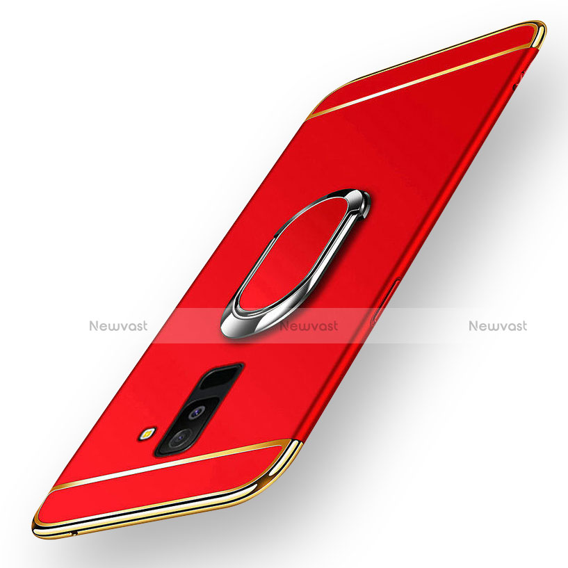 Luxury Metal Frame and Plastic Back Cover with Magnetic Finger Ring Stand for Samsung Galaxy A9 Star Lite Red