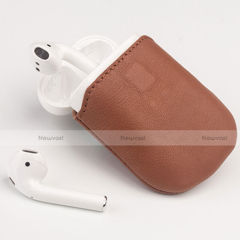 Protective Leather Case Skin for Apple Airpods Charging Box with Keychain A04 for Apple AirPods Black