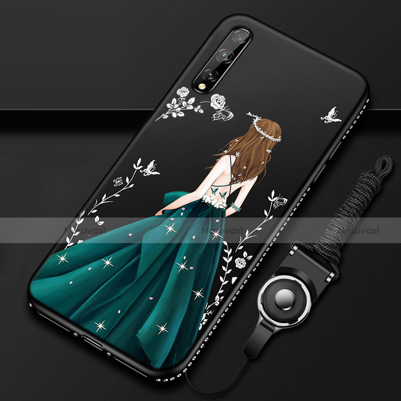 Silicone Candy Rubber Gel Dress Party Girl Soft Case Cover for Huawei Y8p Green