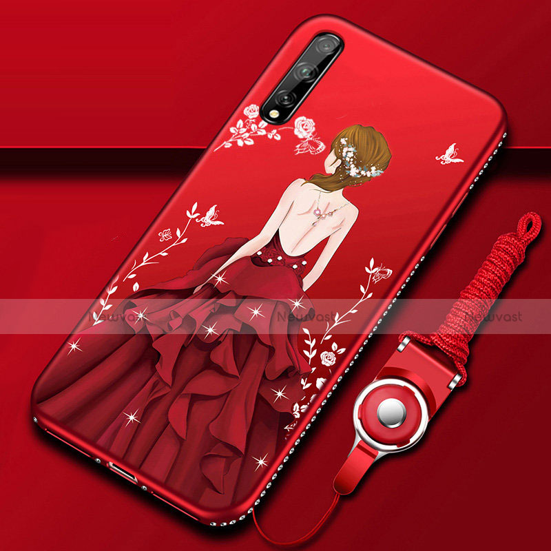 Silicone Candy Rubber Gel Dress Party Girl Soft Case Cover for Huawei Y8p Red