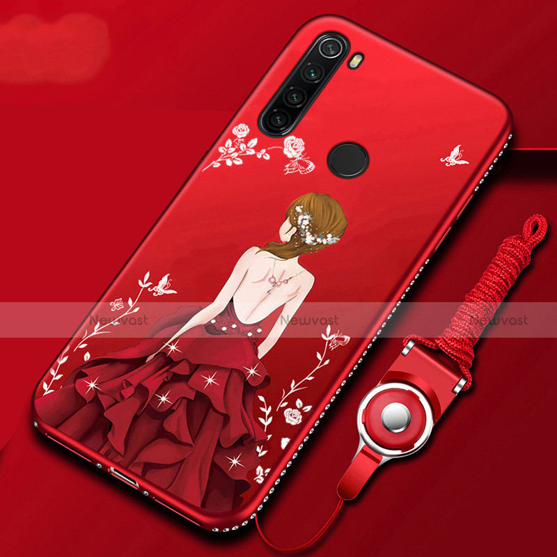 Silicone Candy Rubber Gel Dress Party Girl Soft Case Cover for Xiaomi Redmi Note 8 Red