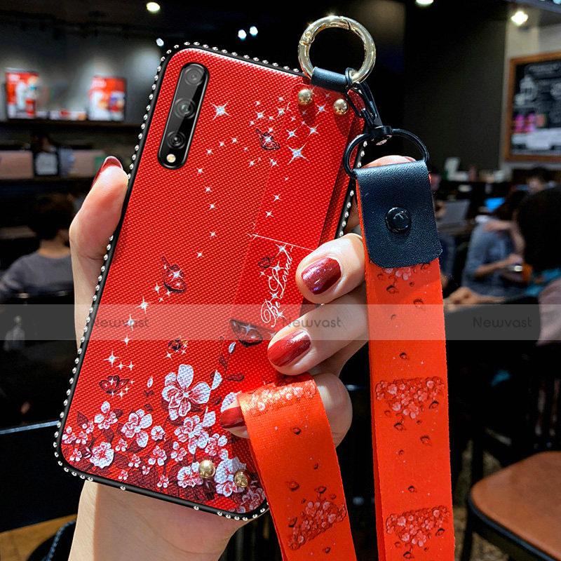 Silicone Candy Rubber Gel Flowers Soft Case Cover for Huawei Enjoy 10S Red