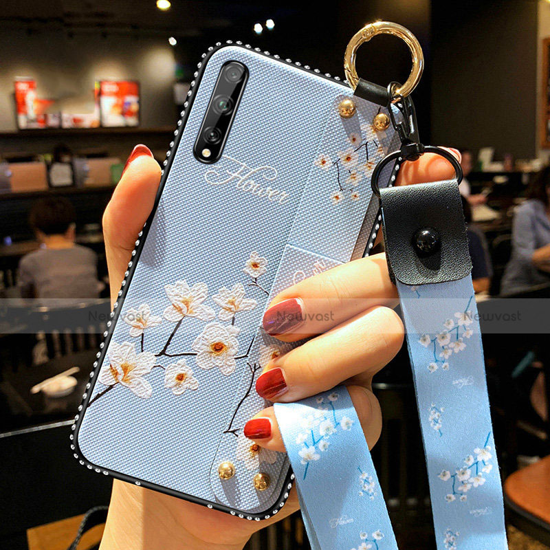 Silicone Candy Rubber Gel Flowers Soft Case Cover for Huawei Enjoy 10S Sky Blue