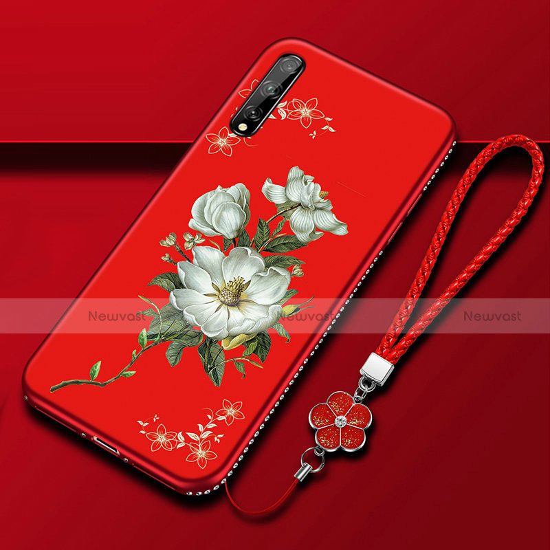 Silicone Candy Rubber Gel Flowers Soft Case Cover S01 for Huawei Enjoy 10S