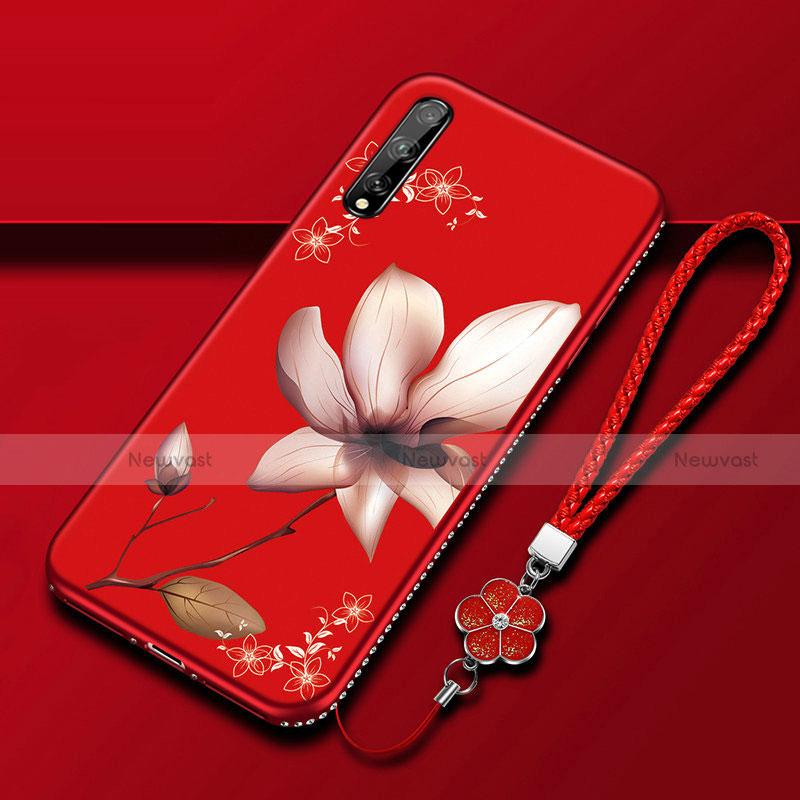Silicone Candy Rubber Gel Flowers Soft Case Cover S01 for Huawei Y8p Red Wine