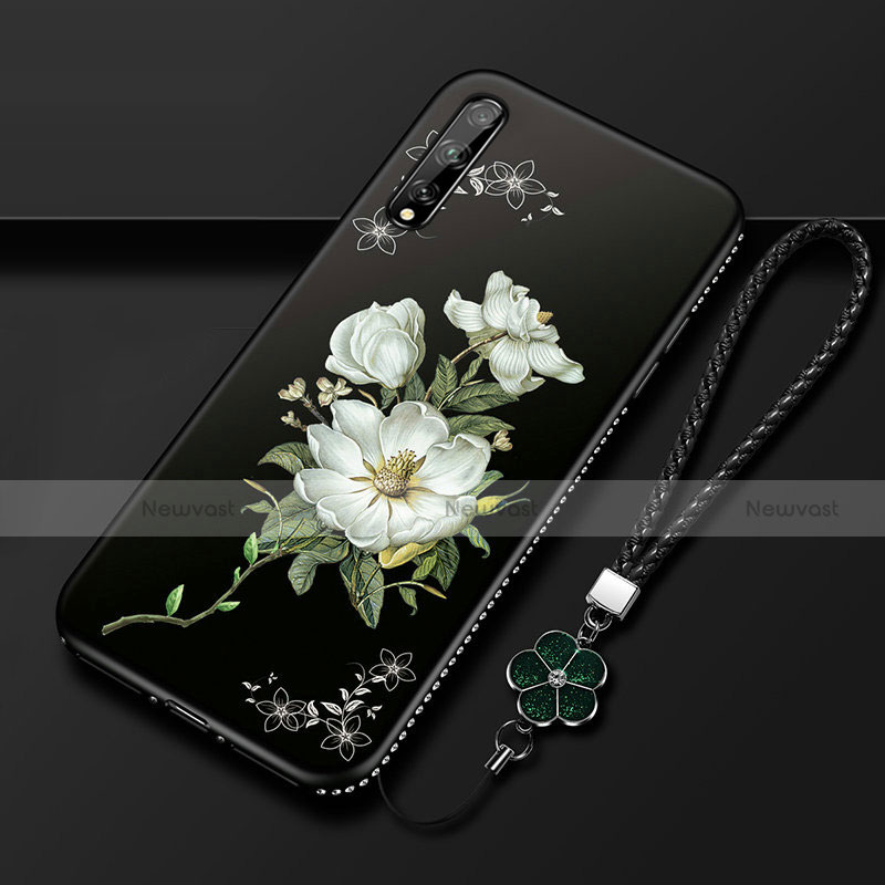 Silicone Candy Rubber Gel Flowers Soft Case Cover S01 for Huawei Y8p White