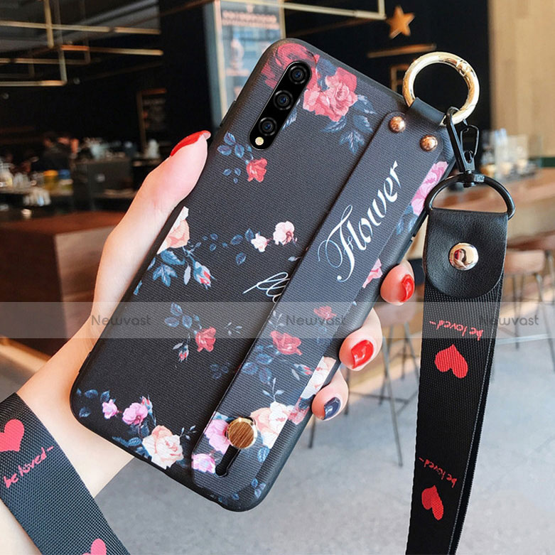 Silicone Candy Rubber Gel Flowers Soft Case Cover S02 for Huawei Y8p Black