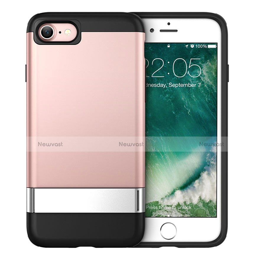 Silicone Candy Rubber Gel Soft Case with Stand for Apple iPhone SE (2020) Pink