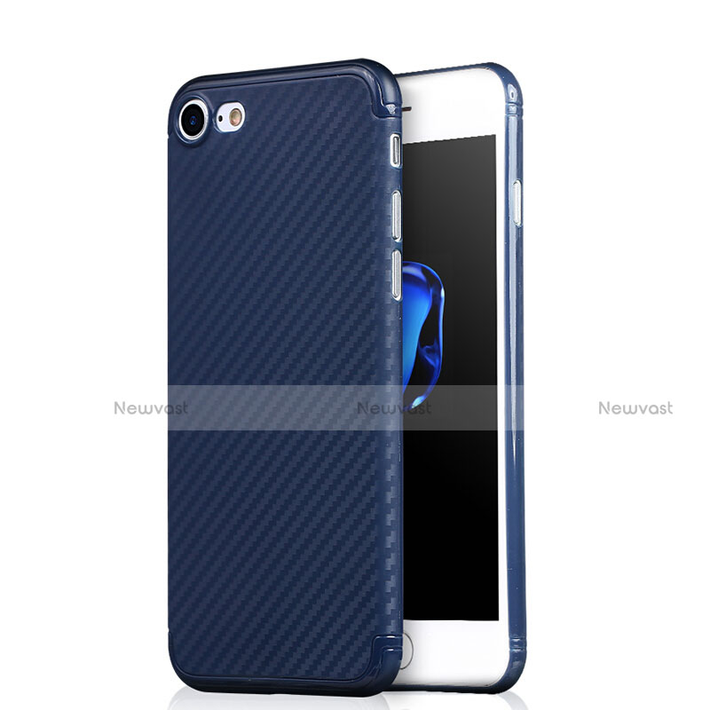 Silicone Candy Rubber Gel Twill Soft Case Z01 for Apple iPhone SE (2020) Blue