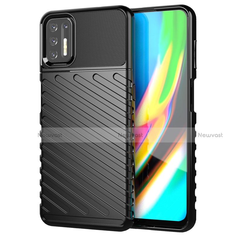 Silicone Candy Rubber TPU Line Soft Case Cover for Motorola Moto G9 Plus Black