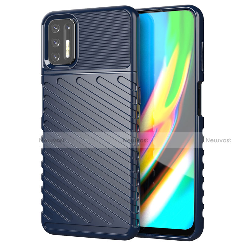 Silicone Candy Rubber TPU Line Soft Case Cover for Motorola Moto G9 Plus Blue