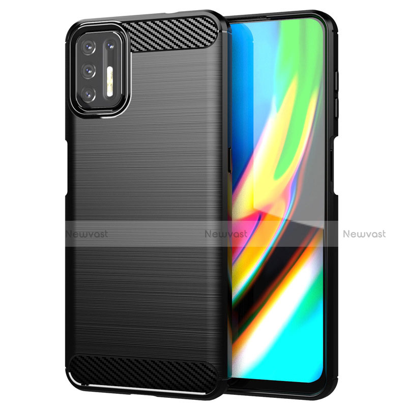 Silicone Candy Rubber TPU Line Soft Case Cover S01 for Motorola Moto G9 Plus Black