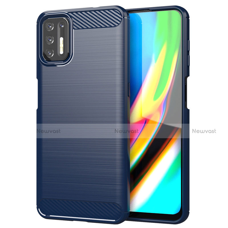 Silicone Candy Rubber TPU Line Soft Case Cover S01 for Motorola Moto G9 Plus Blue