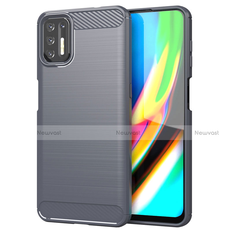 Silicone Candy Rubber TPU Line Soft Case Cover S01 for Motorola Moto G9 Plus Gray